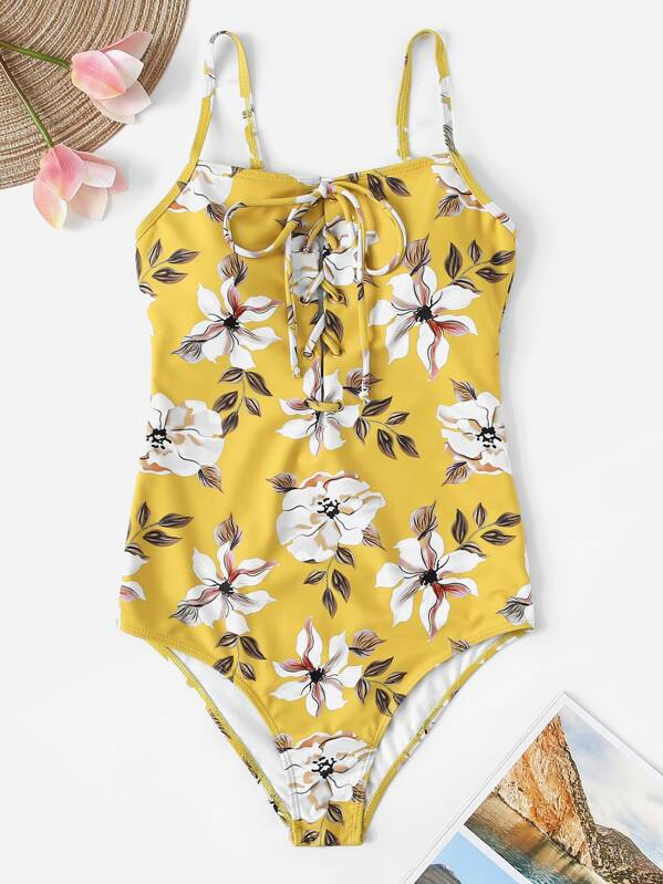 dc43b8b077 Random Floral Lace-up Front One Piece Swimsuit | SHEIN