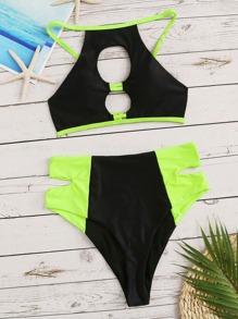 b4fc0f0129165 Cut-out Top With High Waist Bikini Set