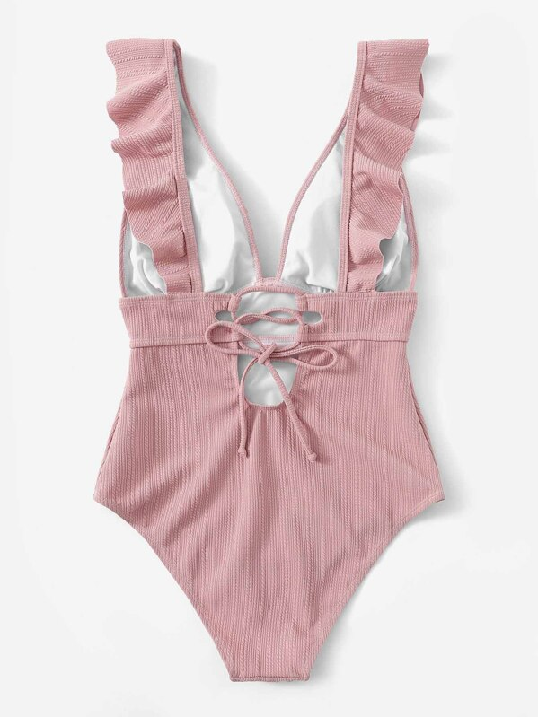 6287c4fb7a Plunging Ruffle One Piece Swimsuit | SHEIN