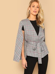 Waist Belted Plaid Cape Coat