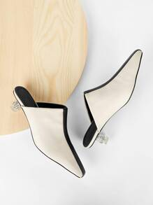 Color-block Kitten Heeled Mules
