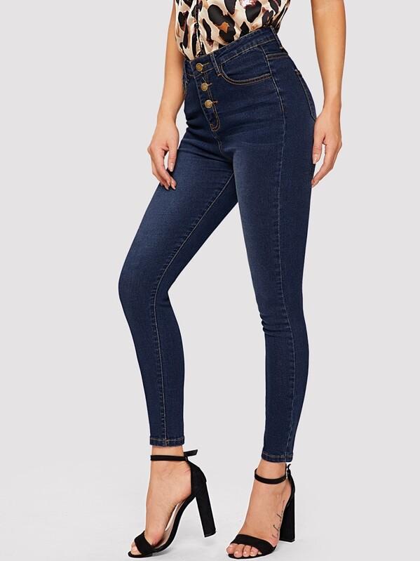 5b7f37889a Dark Wash Buttoned Skinny Jeans   SHEIN IN