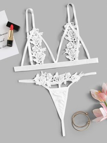 Appliques Triangle Top With G-string Lingerie Set
