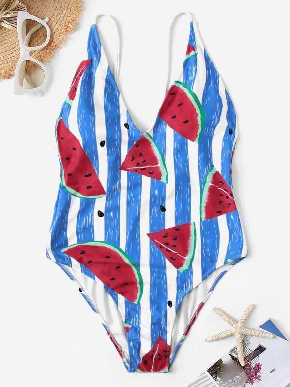 7e888c17c72 Random Watermelon Print & Striped One Piece Swim | SHEIN