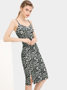 Leopard Print Split Cami Dress