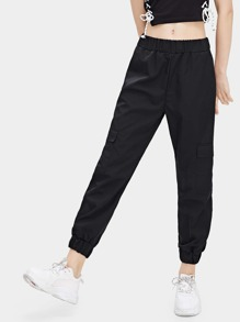 Elastic Waist Pocket Detail Pants