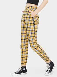 Plaid Print Pocket Detail Pants