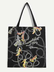 Chain Print Tote Bag