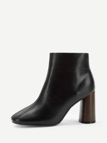 Plain Zipper Side Block Heeled Boots