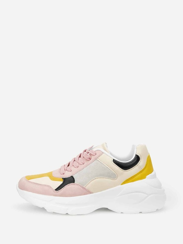 Colorblock Lace Up Chunky Sneakers by Sheinside