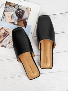 Plain Square Toe Flat Mules