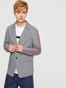 Men Single Breasted Striped Tape Plaid Blazer