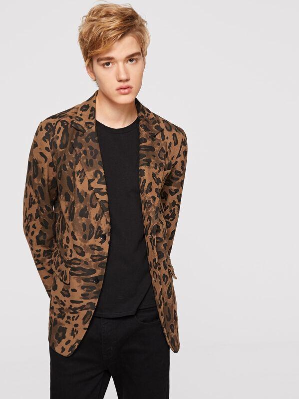 7ba0d397f04c Men Leopard Print Notch Collar Blazer | SHEIN IN