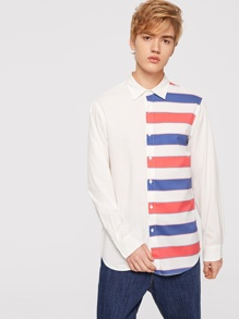 Men Single Breasted Color Block Collar Top