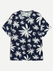 Men Leaves Print Tee