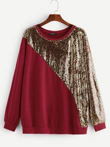 Plus Sequin Panel Pullover