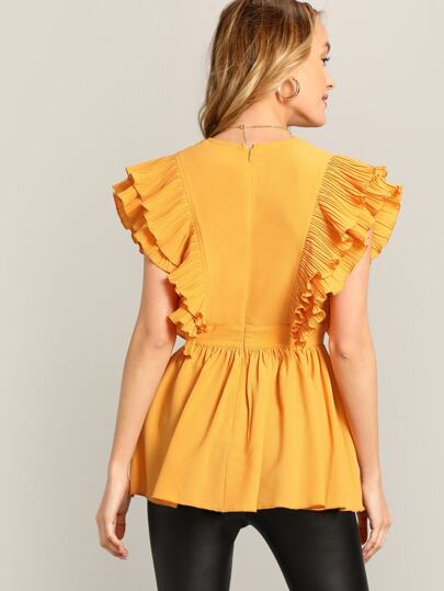 c19d9a63686161 Cheap Pleated Ruffle Embellished Plunging Blouse for sale Australia | SHEIN