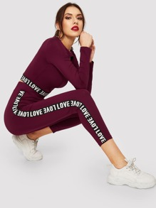 Cutout Front Letter Tape Crop Top and Leggings Set