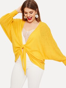 Plus Solid Knot Front Batwing Sleeve Blouse