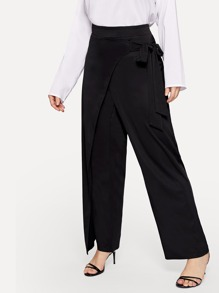 Plus Solid Wide Leg Pants