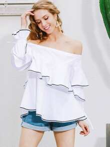 Off the Shoulder Tiered Layer Decoration Blouse