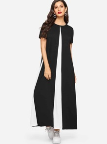 Color Block Hidden Pocket Longline Dress