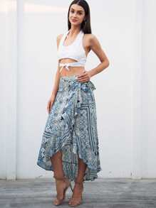 Graphic Print Ruffle Hem Knot-side Wrap Skirt