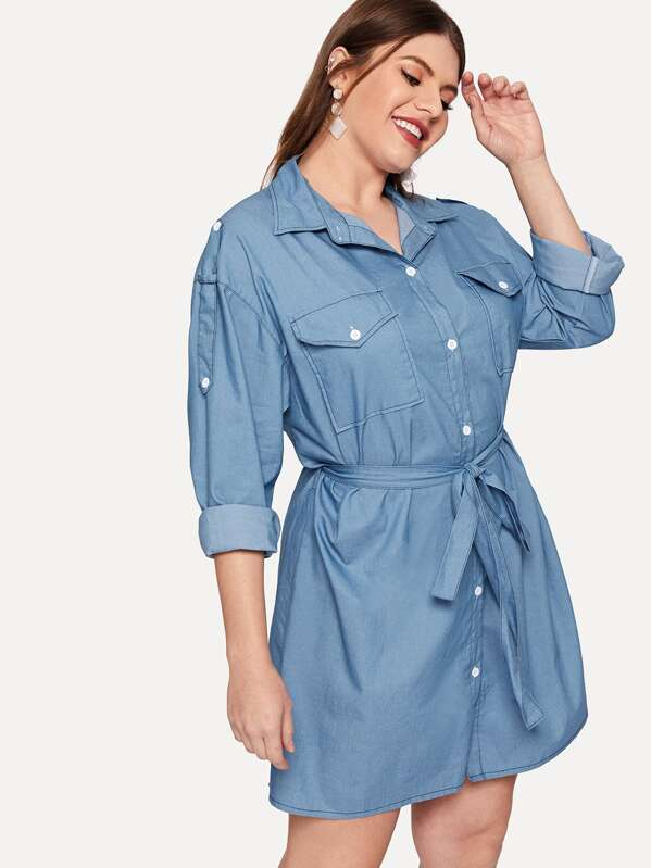 Plus Solid Self-tie Denim Shirt Dress