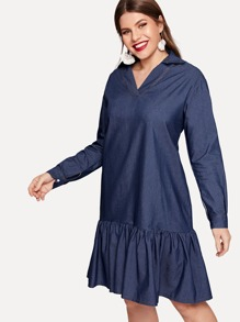 Plus V-neck Ruffle Hem Denim Dress