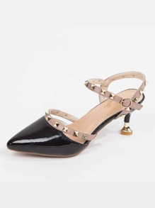 Studded Decor Point Toe Kitten Heels
