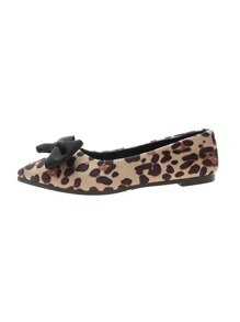 Leopard Pattern Bow Decor Suede Flats