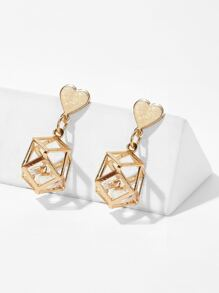 Heart Detail Hollow Geometric Drop Earrings 1pair