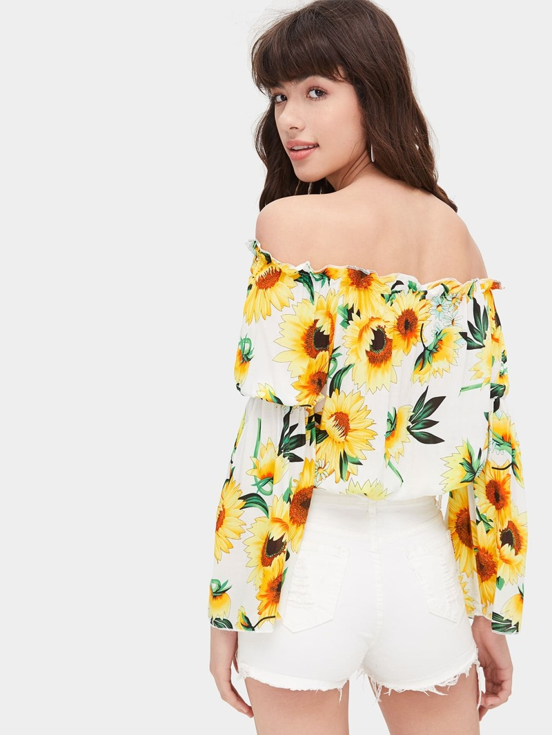 8687e8ef9 Blusa de hombros descubiertos con estampado floral