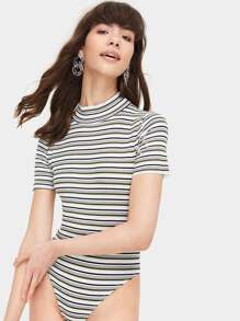Striped Stand Collar Bodysuit