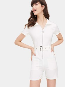 Belted Zip Detail Jumpsuit