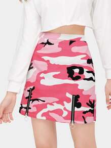 Camouflage Print Zip Detail Skirt