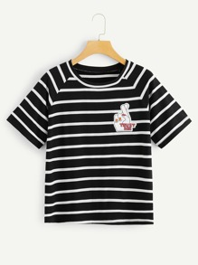 Hand And Letter Print Striped Tee