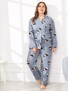 Plus Cartoon & Letter Print Pajama Set