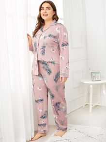 Plus Tropical Print Pajama Set