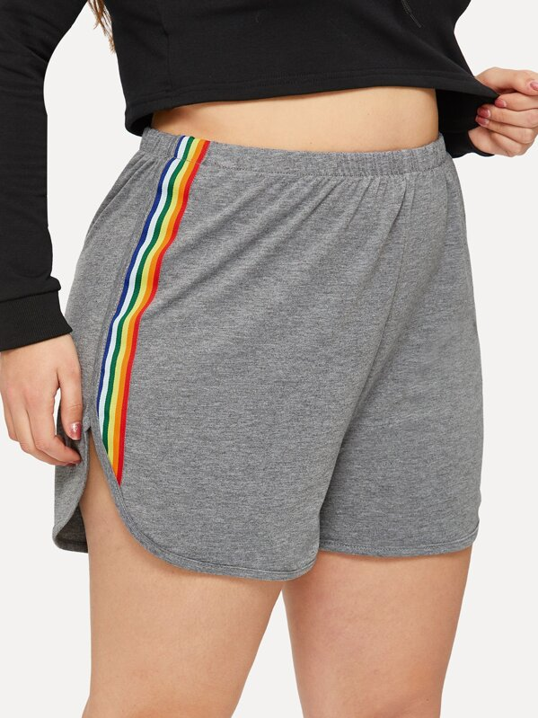 d9afcac075 Plus Rainbow Striped Tape Side Running Shorts | SHEIN UK