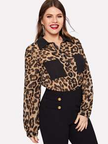 Plus Contrast Pocket Leopard Print Blouse