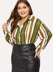 Plus Striped Curved Hem Blouse