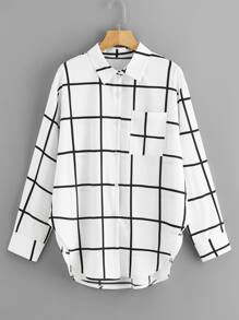 Plus Windowpane Check Curved Hem Blouse