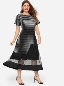 Plus Contrast Mesh Striped Dress