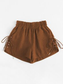 Plus Eyelet Lace-up Side Shorts