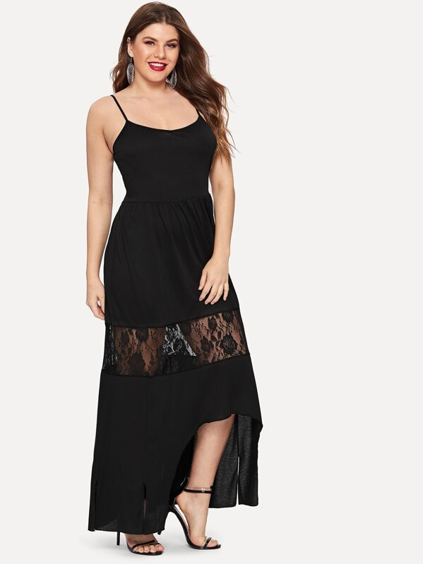 d10cdd56c244 Cheap Plus Contrast Lace Cami Dress for sale Australia   SHEIN