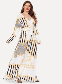 Plus Mixed Print Wrap Maxi Dress