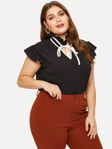 Plus Tie Neck Contrast Flared Cuff Blouse