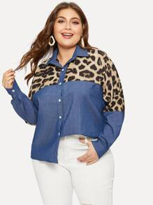 Plus Single Breasted Contrast Leopard Denim Blouse