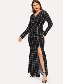 Plus Window Pane Plaid Split Side Dress